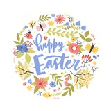 Round holiday composition with Happy Easter lettering handwritten with calligraphic script, blooming flowers and butterflies. Flat cartoon vector illustration for festive greeting card, postcard.