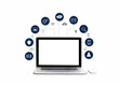 Digital marketing. laptop with white screen blank and icon digital marketing network connection on white background. Social media and business technology. Digital transformation and management.