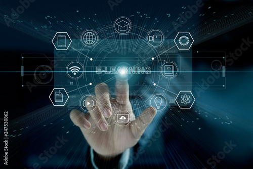 Leinwanddruck Bild E-learning concept. Businessman touching a modern virtual interface with icon  E-LEARNING of the futuristic. Technology and network connection. Online education, e-learning business.
