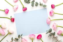 "Постер, картина, фотообои ""Beautiful colored ranunculus flowers on a white background.Spring greeting card."""