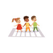 Children Using Cross Walk to Cross Street, Traffic Education, Rules, Safety of Kids in Traffic Vector Illustration
