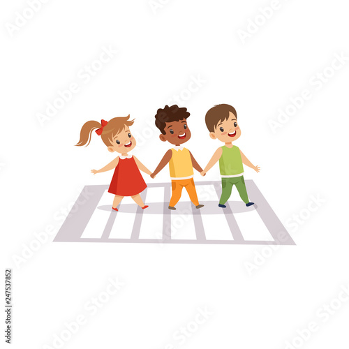 Children Using Cross Walk to Cross Street, Traffic Education, Rules, Safety of Kids in Traffic Vector Illustration - 247537852