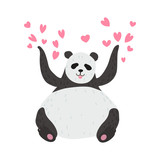 Happy Cute Panda Bear Panda Surrounded by Pink Hearts, Lovely Animal Character Vector Illustration - 247538223