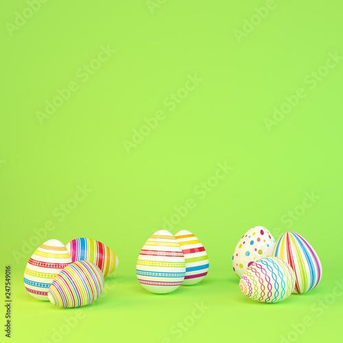 Leinwanddruck Bild Frohe Ostern - 8 farbenfrohe, bemalte Ostereier auf grünen Hintergrund - Textfreiraum - Oster