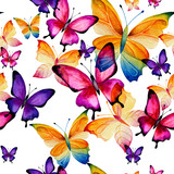 Seamless watercolor pattern of colorful butterflies on a white background. Fluttering moths