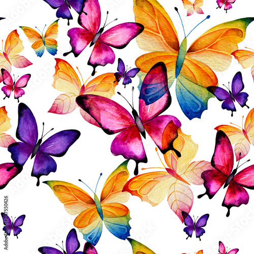 Seamless watercolor pattern of colorful butterflies on a white background. Fluttering moths - 247550426