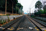 Train tracks in one of the stations of  Japan
