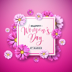 Happy Womens Day Floral Greeting Card Design. International Female Holiday Illustration with Flower and Typography Letter on Abstravt Blue and Pink Background. Vector International 8 March Template.