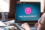 Time management concept on a laptop screen