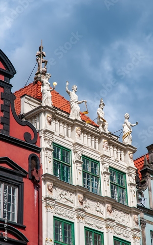 fototapeta na ścianę Ornamental facade of the Golden House in the Old Town of Gdansk, Poland