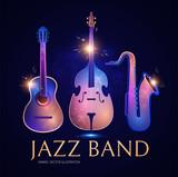 Music Instruments, Guitar, Double Bass and Saxophone. Jass Band Concert Design Template.