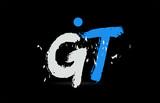blue white alphabet letter combination GT G T logo design