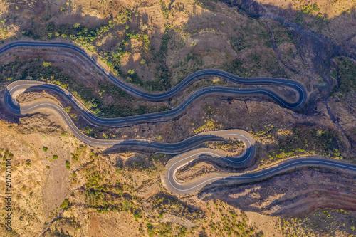 Aerial view of the mountain roads near Simian Mountains, Ethiopia