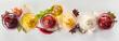 Leinwandbild Motiv Variety of dips, marinades and sauces with spices