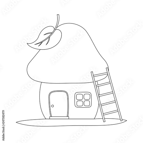 Fairy tale house in a mushroom. Line art for coloring book. Vector coloring page.
