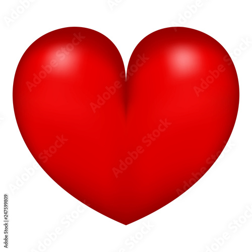 Red heart isolated on white background - 247599809