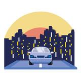 car sedan in the road scene