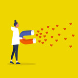 Social media marketing concept. SMM. Young female character attracting heart symbols with a huge magnet / editable flat vector illustration - 247602841