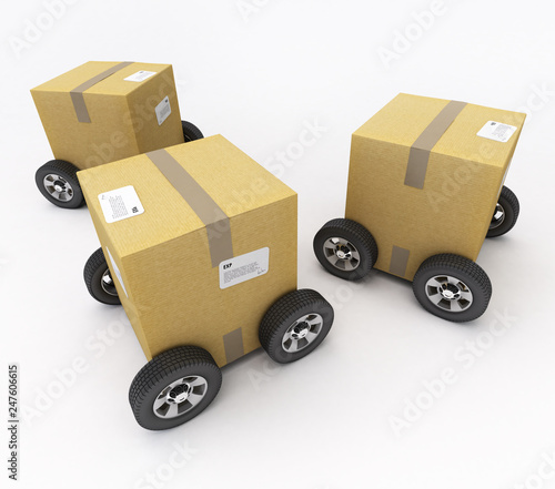 Cardboard boxes on wheels © FrankBoston