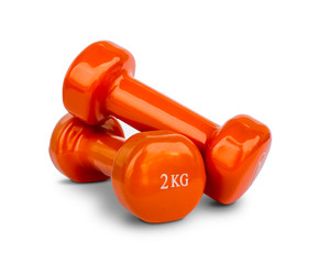 Orange dumbbell Weights isolated on white © Konstantinos Moraiti