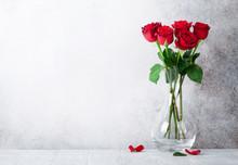 "Постер, картина, фотообои ""Red rose flowers bouquet"""