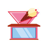 ice cream store facade isolated icon - 247613855