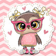 Cute owl in pink eyeglasses