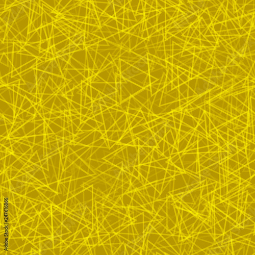 fototapeta na ścianę Abstract seamless pattern of randomly arranged contours of triangles in yellow colors