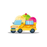ice cream car isolated icon