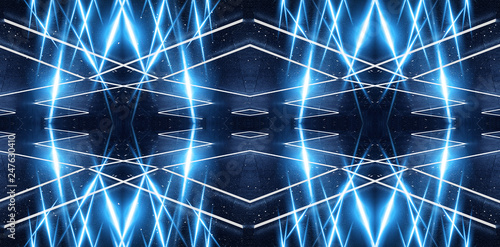 Abstract blue neon background, dark background. Abstract light, abstract rays. Abstract tunnel, portal blue. - 247630410