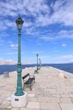 Beautiful view of a stone pier  in the blue Adriatic sea, Senj,  Croatia.
