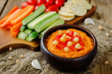 Red Bell pepper hummus with vegetables - 247637452