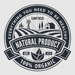 Organic, natural product logo or label. Vector illustration. - 247643247