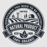 Organic, natural product logo or label. Vector illustration.