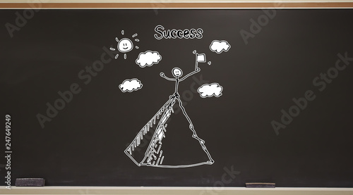Standing on the top of a mountain on a blackboard with erasers - 247649249