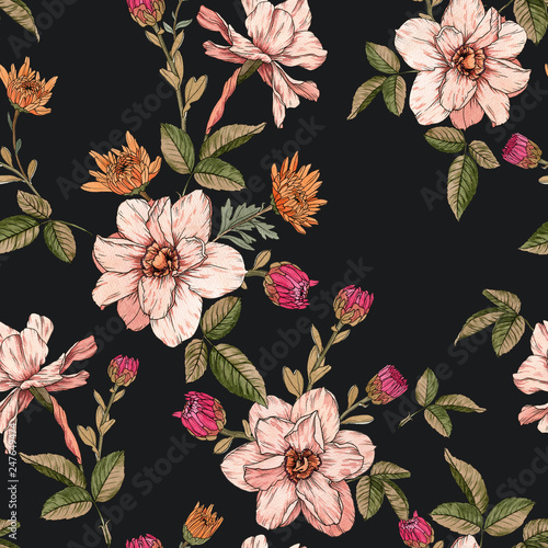 Floral seamless pattern with watercolor narcissus and chrysanthemums - 247649474