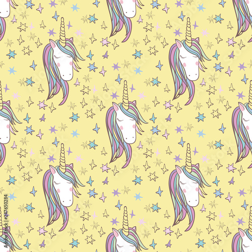 Unicorn Rainbow seamless pattern - girls scrapbook paper. Perfect for wrapping presents, scrapbook pages, cards, party decorations, book/journal cover, product design, apparel, planners, invitations - 247650284