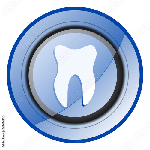 Tooth round blue glossy web design icon isolated on white background - 247654824