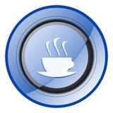Espresso round blue glossy web design icon isolated on white background - 247655247