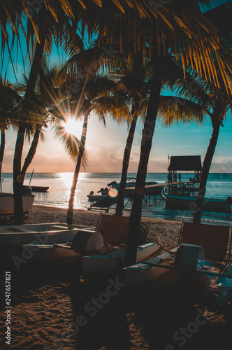 Beautiful sunset in Trou aux Biches, Mauritius. View of the jetty and boats amidst palm trees - 247657821
