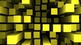 Abstract surface of moving gold coloured 3d rectangles. - 247659641