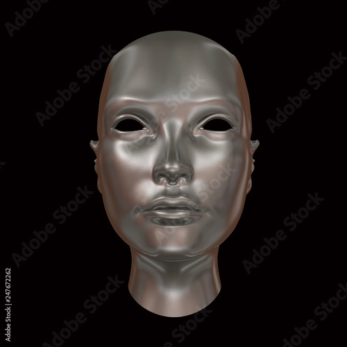 Silver Head, abstract concept isolated on black 3d rendering © Natalia80