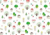 家と木の水彩テクスチャ