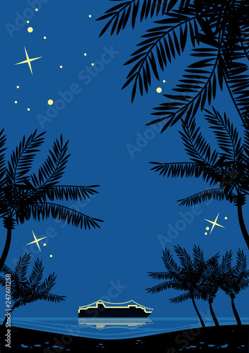 Night tropical landscape with palms silhouettes and cruise ship on a horizon. Retro style drawing. - 247681258