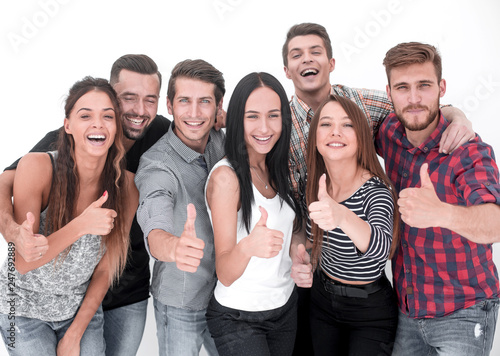creative business team showing thumb up