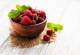 Bowl with fresh raspberries