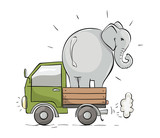 Cargo Delivery. Vector illustration, transportation of a large elephant, cargo