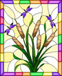 Illustration in stained glass style with bouquet of   bulrush and purple dragonflies on a yellow  background ,in bright frame