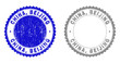 Grunge CHINA, BEIJING stamp seals isolated on a white background. Rosette seals with grunge texture in blue and gray colors. Vector rubber watermark of CHINA, BEIJING label inside round rosette.