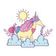 beautiful little unicorn with clouds and sun - 247717894